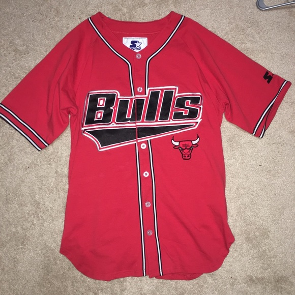 sale retailer f3135 ec7b0 Chicago Bulls Men's Baseball Jersey by Starter